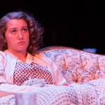 "Junior Lisa Ashby listens to a rant about Hitler in the play ""A Bright room Called Day."" The play is based in pre-World War II Germany and is being put on by Trinity's theater department."