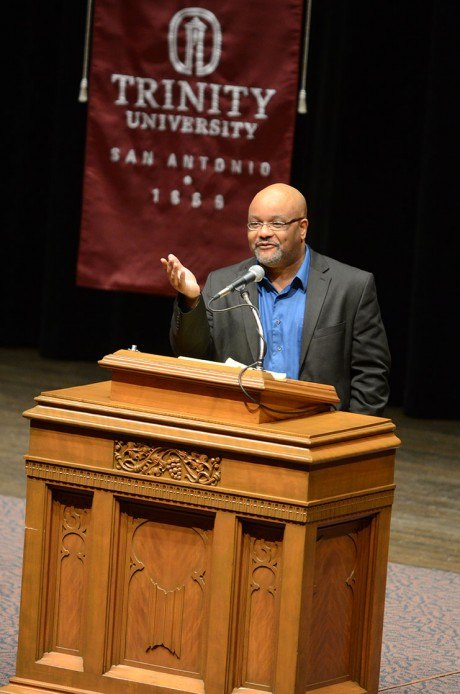 """Boyce Watkins was featured speaker for the 2013 Martin Luther King Jr. Commemorative Lecture. Watkins' lecture, """"Five Ways to Bring Dr. King's Dream Back to Life,"""" was held on Thursday, Jan 17, in Laurie Auditorium. Photo by Anh-Viet Dinh."""