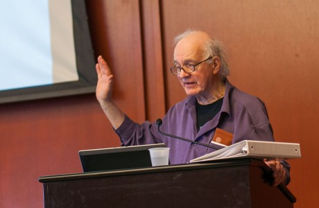 "Jan Narveson, professor emeritus of philosophy at University of Waterloo in Canada, presented ""Professionals, Clients, and Rational Confidence"" last Thursday. This lectures is sponsored by the Charles Koch Foundation. Photo by Anh-Viet Dinh."