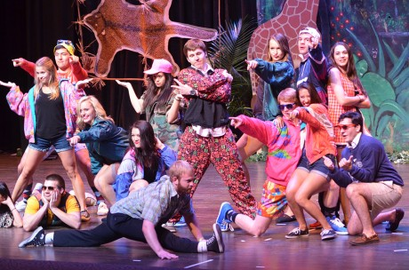"""Members of Sigma Theta Tau and Pi Kappa Alpha joined together to perform a dance number to """"Suit and Tie,"""" """"Beauty and the Beat,"""" """"Countdown"""" and """"Thrift Shop."""" They won the award for best group performance. Photo by Jennie Ran."""