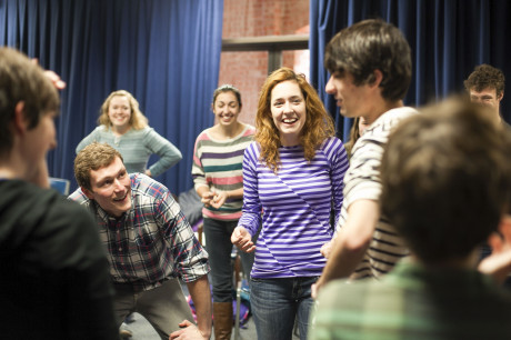 First year William Locke (left) and sophomore Maddie Smith (right) improvised during an improv session hosted by First Time Offenders last Friday. Photo taken by Anh-Viet Dinh.