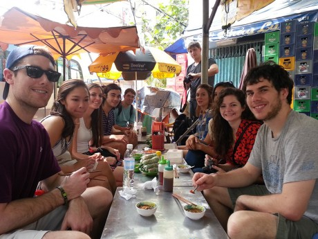 Trinity students with different majors and interests come together to dine in Vietnam. Globalization and Economic Development: A Case Study in Vietnam will take place through the political science and business administration departments again in January 2014, and applications will be available in Fall 2013. Photo courtesy of Mario Gonzalez-Fuentes.