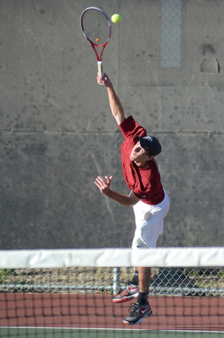 Sophomore Jordan Mayer serves a pass to a Laredo Community College opponent Saturday afternoon. Photo by Matthew Brink.