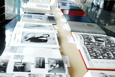 "At the ""Mirage Museum"" displayed in Fall 2011 in Coates University Center lobby students got a chance to look at how the yearbook has evolved over the years. Now, the Mirage starts a new chapter in its history by printing in full color for the first time in its history. Photo by Carly Cowen."