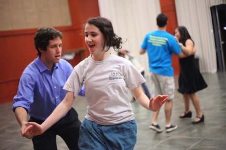 Senior Stephen Hudec and sophomore Camille DeMars strut their stuff on the dance floor in the Fiesta Room. The Swing Bums host a free social dance every Tuesday from 9-11 p.m. in the Fiesta Room. Photo by Anh-Viet Dinh.