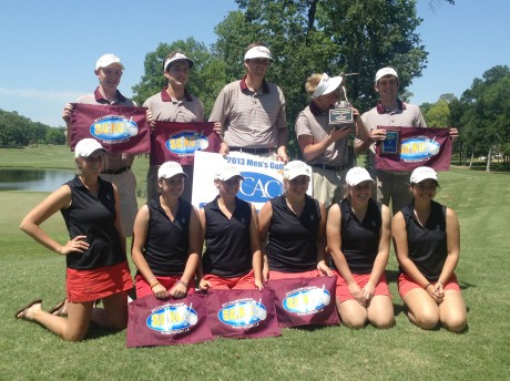 The men and women's golf teams pose for a picture after going one and two respectively at the Southern Collegiate Athletic Conference Championship tournament over the weekend. Photo courtesy of Carla Spenkoch.