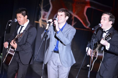 "The Daytrippers, sophomores Victor Vo, Mason Walker and Reagan Wilkins, perform ""Skyfall"" by Adele at Spotlight. The band is organizing the third Rooftopalooza at 9:07 p.m. Friday, April 26, on McLean Roof. Photo by Jennie Ran."