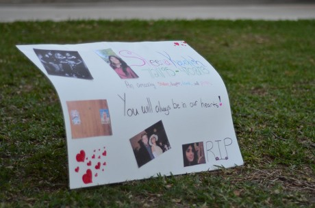 One of two posters present at the student-led memorial service held on Tuesday features photos of Sheena's time at trinity. They are now on display in the Coates University Center. Photo by Matthew Brink.