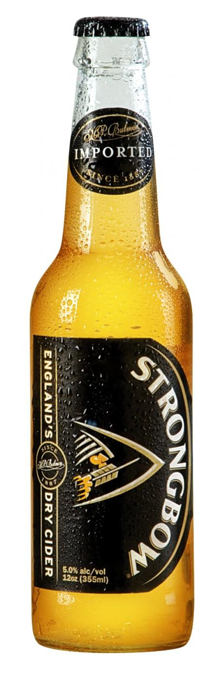 A bottle of Strongbow, a popular English cider.