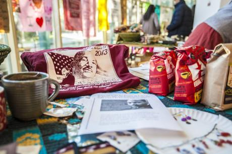 Fair trade shirt table. Photo by Anh-Viet Dinh.