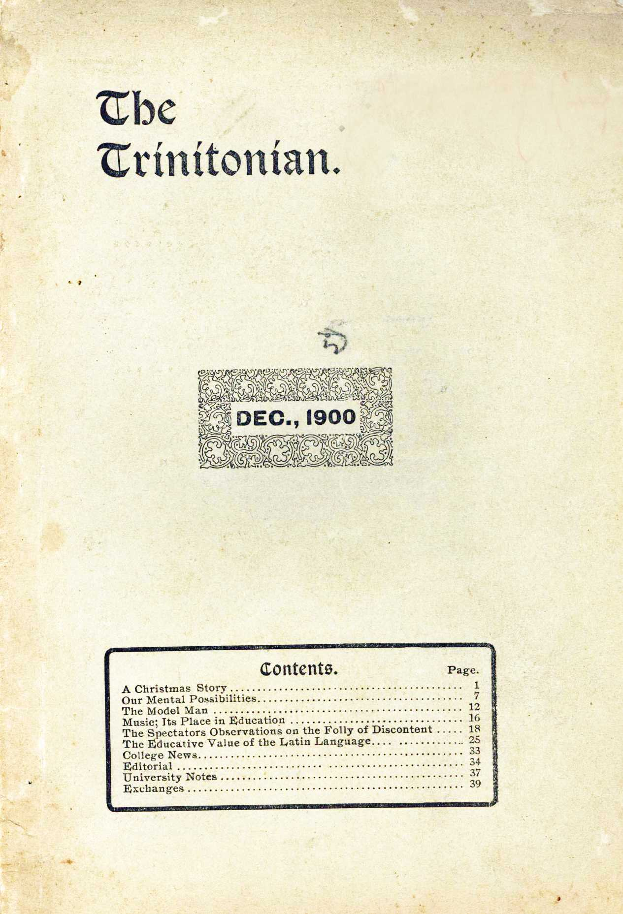 Cover of the first Trinitonian