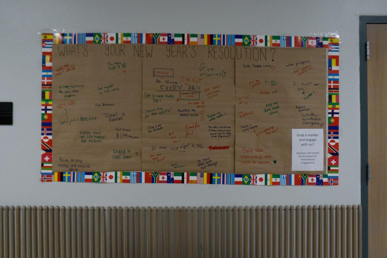 Old bulletin board put up by the Center for International Engagement.